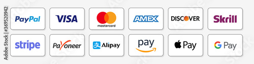 PARIS, FRANCE – AUGUST 05, 2020 : Online payment methods icons set, logo company : Paypal, Visa, Skrill, Stripe, Alipay, Apple Pay, Google, Amazon… Isolated E-commerce payment buttons. Vector stock.