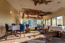 Abandoned Restaurant With Ceiling Collapsing