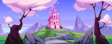 Magic Pink Castle On Green Hil...