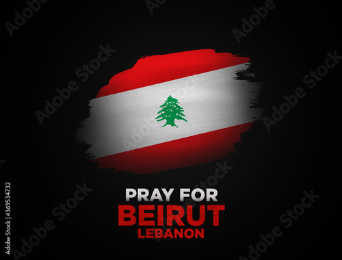 Obraz Pray for Lebanon. Pray for Beirut in dark background. Lebanon flag on dark background. Massive explosion on Beirut. concept of praying, mourn, humanity and peace. - fototapety do salonu