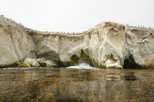 Cliffs, Caves, Rocks, Arches, And Flock Of Birds. Shell Beach Area Of Pismo Beach, California