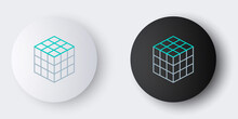 Line Rubik Cube Icon Isolated On Grey Background. Mechanical Puzzle Toy. Rubik's Cube 3d Combination Puzzle. Colorful Outline Concept. Vector.