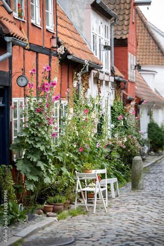 Fototapety, obrazy: street cafe in the old town of Helsingoer