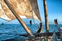 Traditional Fishing Boats Off The Coast Of Sri Lanka