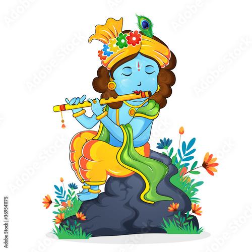 Obraz Illustration of happy janmashtami birthday of lord krishna, festival of india. Lord krishna playing bansuri in a garden on white background. - fototapety do salonu