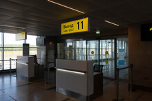 Terminal For Boarding The Plane. Ticket Control Checkpoint.