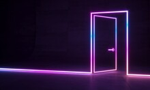 Abstract Neon Shapes Hologram ...
