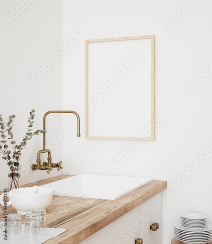 Mock up poster frame in kitchen interior, Farmhouse style, 3d render - 369547735