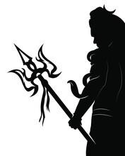 Lord Shiva Vector Silhouette Graphics Black Artwork Creative And Unique Design.