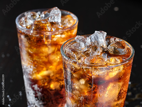 Canvas Print two cups of cold cola soft drink with ice