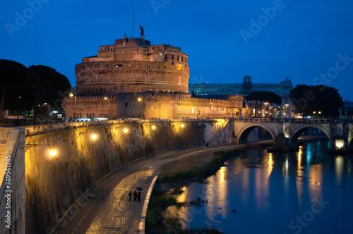 Castel Sant'Angelo or Mausoleum of Hadrian and Bridge Sant'Angelo, Rome, Italy Canvas Print