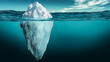 Leinwandbild Motiv Iceberg with its visible and underwater or submerged parts floating in the ocean. 3D rendering illustration.