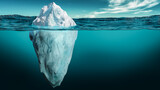Iceberg with its visible and underwater or submerged parts floating in the ocean. 3D rendering illustration.