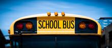 American School Bus Front Vehicle Closeup.