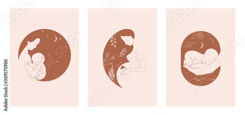 Fotografía Motherhood, maternity, babies and pregnant women logos, collection of fine, hand