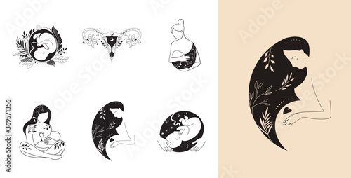 Motherhood, maternity, babies and pregnant women logos, collection of fine, hand Wallpaper Mural
