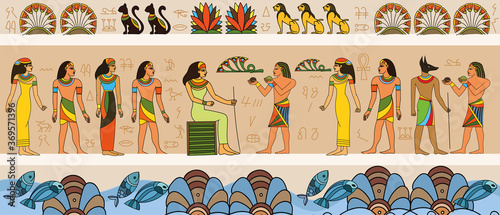 Fotografía Ancient Egyptian scene with queen and servants or courtiers with border of symbo