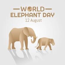 World Elephant Day Vector Illu...