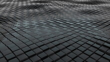 3d Rendering Of Black Cubes Boundless Surface. Computer Generated Abstract Wavy Background.
