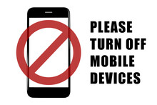 Smart Phone Template With Prohibition Red Sign And Text Please Turn Off Mobile Devices On White Background,vector Illustration