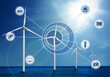 Alternative energy source. Floating wind turbines in sea and scheme