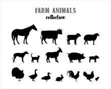 Farm Animals Vector Silhouette...