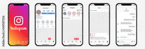 Instagram mobile App interface template on Apple Iphone mockup. Realistic UI screen profile, post, message. Isolated smartphone application on white background. Editable text & blank parts. Vector set