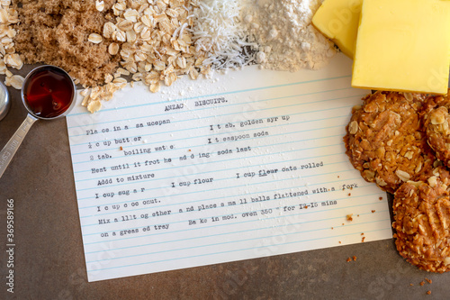 Fototapeta Anzac Biscuits  Vintage Recipe Ingredients and Cooked Biscuits obraz