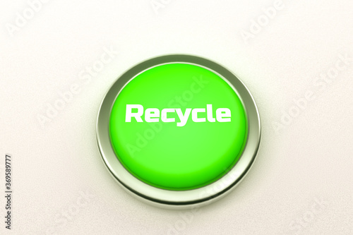 Fototapety, obrazy: 3d rendering of a shiny green button isolated on white background.  Recycle button for web page, presentation, apps and design products. Horizontal composition with copy space.