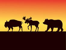 Group Of Wild Animals Silhouet...
