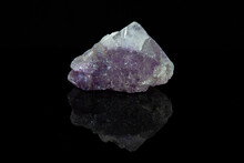 Violet Fluorite With Cubic Pattern On Black Background
