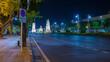 Twilight view of Ratchadamnoen Road in Bangkok, Thailand