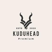 Kudu Head Hipster Vintage Logo...