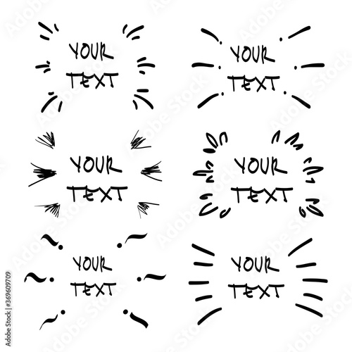Photo Vector hand drawn collection of design  elements for emphasis text in comic styl