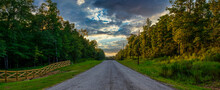 Country Road With Summer Sunset
