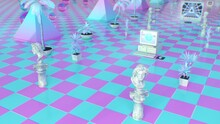 Aesthetic Vaporwave Pink Blue Mall With 90s Electronics And Statues - Abstract Background Texture