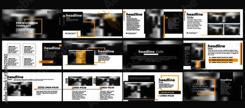 Fototapeta Modern powerpoint presentation templates set for business. Use for modern keynote presentation background, brochure design, website slider, landing page, annual report, company profile, portfolio obraz