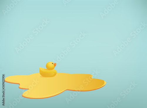 Vector background with little rubber duck swimming in a puddle Fotobehang