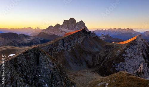 Obraz Mountain panorama at autumn sunrise, Dolomites, Italy, Mt. Pelmo - fototapety do salonu