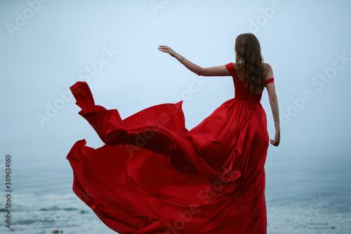 Fényképezés woman in a long red dress. Back view