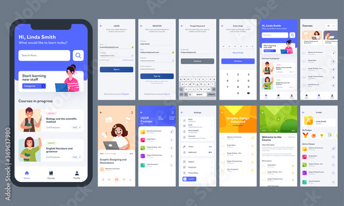 Photo Online Learning Mobile App UI Kit With Different GUI Layout Including Log In, Create Account, Course Information Screen