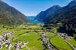 Switzerland, Poschiavo Valley,aerial view towards the lake of Poschiavo