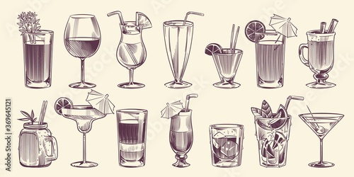 Obraz Sketch cocktails. Hand drawn different cocktail, alcohol drink in glass for party restaurant menu, cold mojito, tropical pina colada and margarita, engraving style vector isolated set - fototapety do salonu