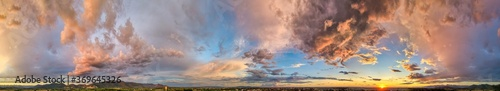 Photo Amazing panoramic aerial view of sunset sky