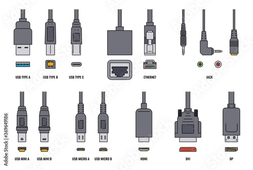 Fényképezés USB cable and mobile cell phone plugs set realistic vector illustration isolated