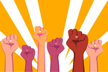 Demonstration Vector Concept: Crowd Fist Hands Punching The Air Together