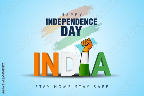 Valokuvatapetti happy independence day india. covid-19, coronavirus concept