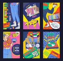 80's Disco Style Poster Set For Retro Party - Colorful Invitation Flyers