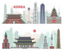 Korean Landmarks And Sights Set, Sketch Vector Illustration Isolated On White.