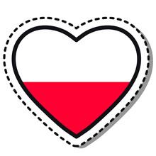 Flag Poland Heart Sticker On W...